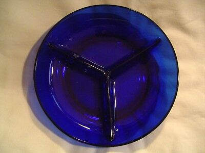 Cobalt Blue Clear Small 3 Compartment Condiment Dish