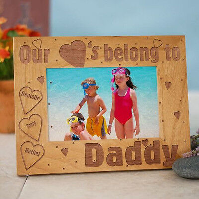 Personalized Our Hearts Belong To Daddy or Any Title Picture Frame Dad, Grandpa