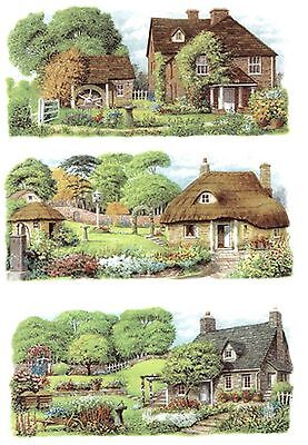 "3 English Cottage Garden Wrap Wraparound 7 3/4"" X 3 1/2"" Ceramic Decals Bx"