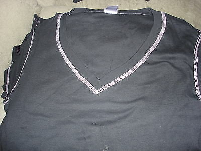 Blank Adult V Neck Black Tee Shirt With Pink Boarder Lot Of 8