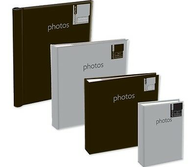 "SILVER or BLACK COVER PHOTO ALBUM 4 SIZES 4"" x 6"" 5"" x 7"" SLIP IN ADHESIVE MEMO"