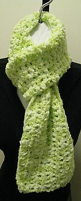 GREEN ICE SCARF~handcrochet~Handmade Accessories Chenille Soft Designer Scarves