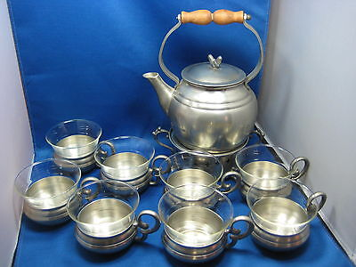 Antique West  Germany Pewter Teapot+Burner+8 Cups W/Seperated inside Glass Set