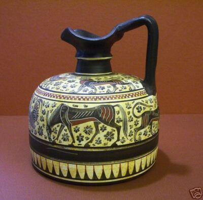 Greek wine jug replica of Corinth Museum piece-signed   #156