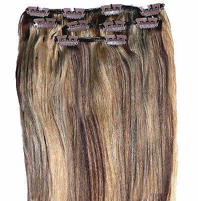 Blonde Brown Mix Clip in HUMAN HAIR EXTENSION Remy Hair  Premium Quality