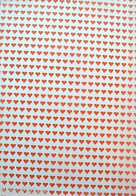 2 x A4 Small Red Heart Patterned Vellum NEW
