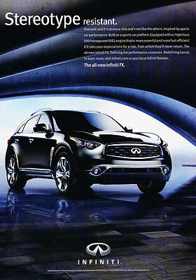 2009 Infiniti FX - Stereotype - Classic Vintage Advertisement Ad D202