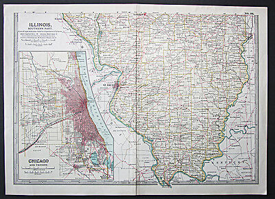 1902 Matthews Northrup detailed state map of Illinois (Southern part)