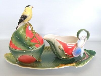 Orchid Bird Sculptured Porcelain Sugar Cream Set *New*