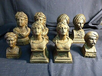 8 19 Th Century Cast Iron Continental Busts Perfect As Paperweights Or Bookends