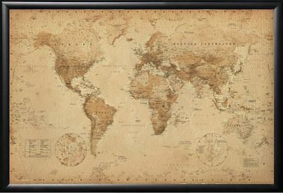 Framed World Map Antique Perfect For Push Pins tracking Trips Premium Wood 24x36