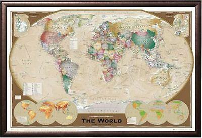World map antique style poster print in black wood frame 24x36 world map triple view educational office print in premium rust wood frame 24x36 gumiabroncs