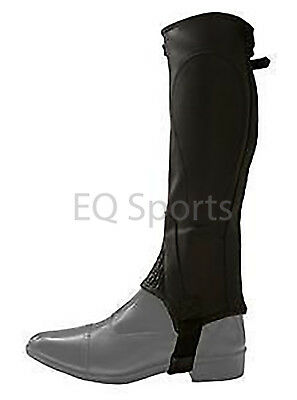 Leather Elasticated Half Chaps, Extra Small, Black