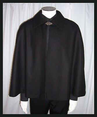 BLACK 100% WOOL Victorian Men's Hip Length Opera Cape Cloak Lining Red Gold