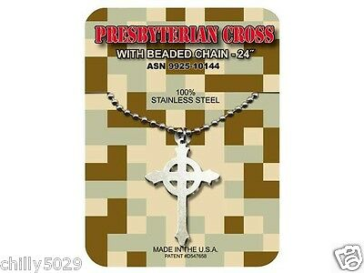 GI JEWELRY, U.S. Military, PRESBYTERIAN CROSS Necklace Pendant With Beaded Chain