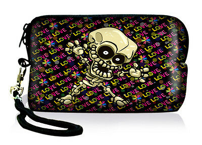 Skull Neoprene Case Bag Pouch For Digital Camera Cell Phone Itouch Iphone 3 4S 5