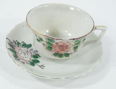 Vintage Hand Painted Fine Porcelain Teacup and Saucer Made In Japan