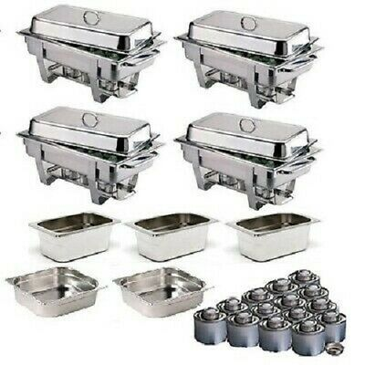Four S/Steel Chafing Dishes With Extra Food Pans & Fuel *Free Next Day Delivery*