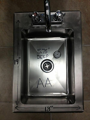 "New Heavy Duty Drop-In Hand Sink 19""x13"" Stainless Steel with Faucet"