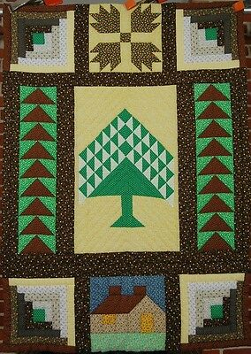 GORGEOUS Flying Geese Schoolhouse, Trees Log Cabin Crib Quilt ~GREAT CONDITION!