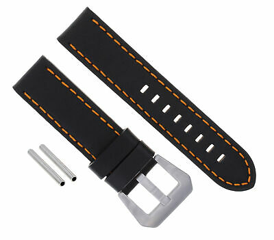 24Mm Leather Watch Band Strap For 44Mm Panerai 88 562 441 90 104 Black Orange #3