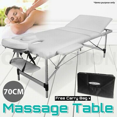 New Portable Aluminium Massage Therapy Table Three Fold Beauty Bed White 70cm