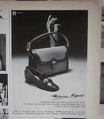 1968 Vintage Etienne Aigner Glove Should strap Handbag Purse Shoes Ad