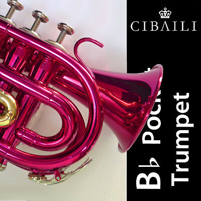 CIBAILI Gleaming Blue Bb POCKET TRUMPET • High Quality • Brand New • With Case •