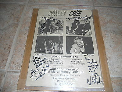 Motley Crue 1 Of A Kind Signed Autographed Early 80's Concert Ad Flyer Poster