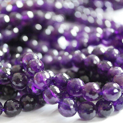 """Grade A Natural Amethyst Faceted Round Gemstone Beads 15"""" Strand - 6mm 8mm 10mm"""