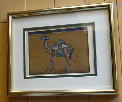 Mystery beautiful detailed modernist mod painting of Camel. vintage Native