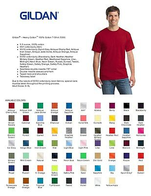 100 Gildan T-SHIRTS COLORS or WHITE BLANK BULK LOT S-XL Wholesale Lots