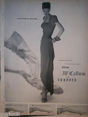 1946 Vintage MCCALLUM and PROPPER Streamlined Seams Stockings Hosiery Ad