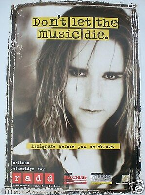 """Melissa Etheridge """"don't Let The Music Die - Radd"""" Canadian Promo Poster"""
