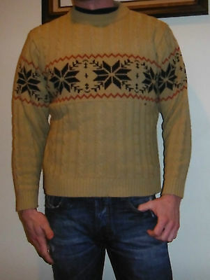 Vtg 70s Ugly Christmas Sweater Ft Snowflakes Sears Kings Road