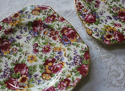 """Royal Winton Summertime Ascot Chintz 6"""" Plate Tea Party England Lot of 2 NEW"""