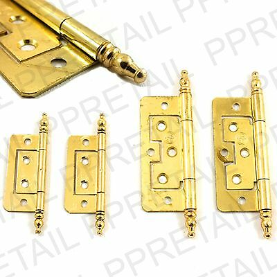 2 x STYLISH BRASS FLUSH HINGE + FINIALS SMALL 50MM Or LARGE 75MM Door Cupboard