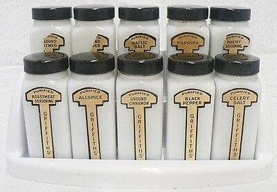 Old Milk Glass Spice Jar Set