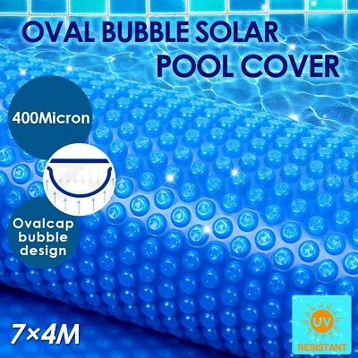 Solar Swimming Pool Cover Oval Bubble Blanket 400 Micron 7M x 4M Outdoor Blue