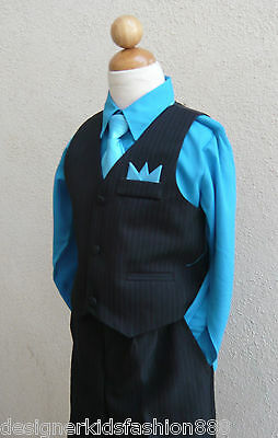 Black Turquoise Blue Toddler Boys Set Vest With Long Tie Tuxedo Formal Suit Set