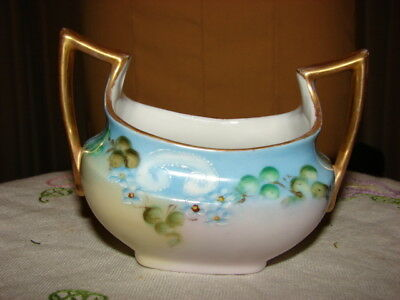 Royal Bavarian Handpainted Sugar bowl blue green beauty