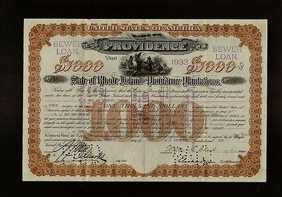 Providence State Of Rhode Island & Providence Plantations 1906 Sewer Loan