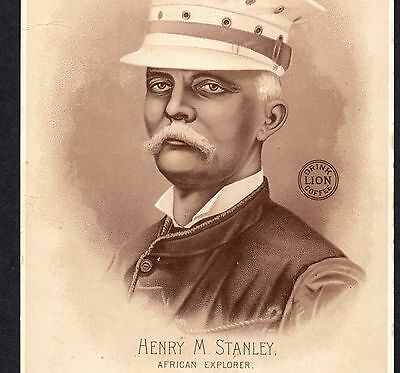 1890 Henry Stanley African Explorer portrait Lion Coffee Woolson Spice Adv. CARD