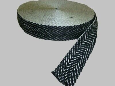 "10 metre rolls of BLACK & WHITE - 2"" UPHOLSTERY WEBBING for seats & furniture"