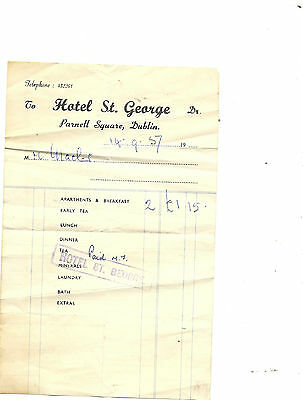 Hotel St. George Parnell Square, Dublin receipt dated 14-9-57 (or 51)