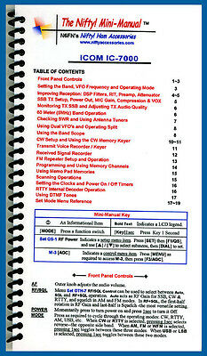 Icom IC-7000 Nifty Quick Reference Guide, IC7000