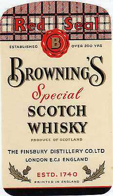 10 Etiquettes Anciennes Scotch Whisky Browning's London England Royaume Uni