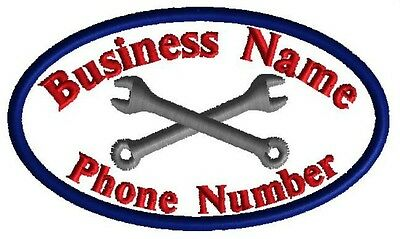 4 Custom Embroidered Business Name Patches Logo Iron on Badges Tags Handyman