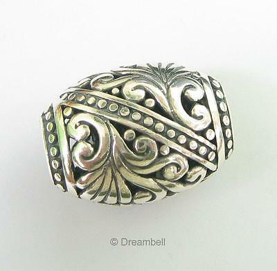 1x Sterling Silver Bali Flower Focal Bead 24mm Stamped