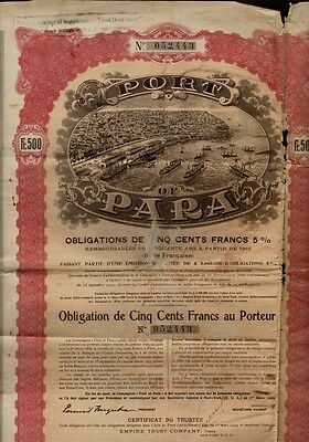 BRAZIL : PORT OF PARA 1909 with uncancelled dividend coupons